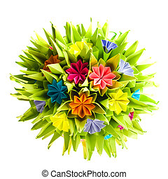 Origami kusudama flower - Colorfull origami kusudama from...