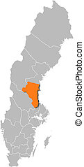Map of Sweden, Gaevleborg County highlighted