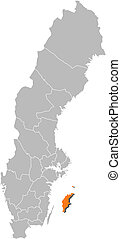 Map of Sweden, Gotland County highlighted