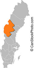 Map of Sweden, Jaemtland County highlighted