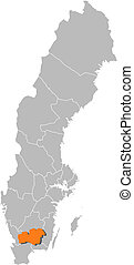 Map of Sweden, Kronoberg County highlighted