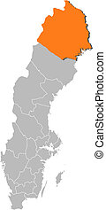 Map of Sweden, Norrbotten County highlighted
