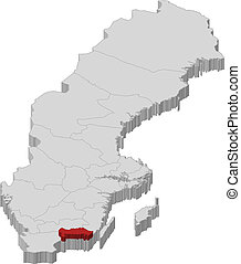 Map of Sweden, Blekinge County highlighted - Political map...