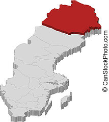 Map of Sweden, Norrbotten County highlighted - Political map...