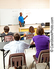 African-American Teacher and Class - Handsome...