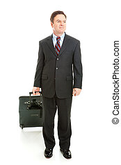 Full Body View of Business Traveler - Businessman traveling...