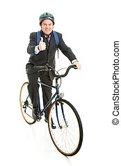 Biking to Work - Thumbs Up - Businessman bicycling to work...