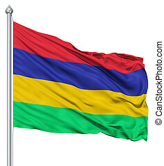 Waving flag of Mauritius - Flag of Mauritius with flagpole...
