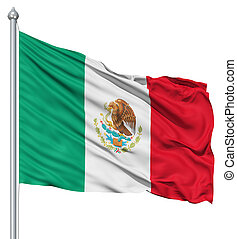 Waving flag of Mexico - Flag of Mexico with flagpole waving...