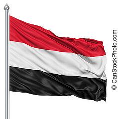 Waving flag of Yemen