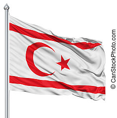 Waving flag of Turkish Republic of Northern Cyprus - Flag of...