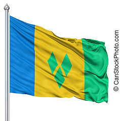 Waving flag of Saint Vincent and the Grenadines - Flag of...