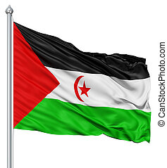 Waving flag of Sahrawi Arab Democratic Republic