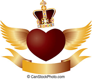 Flying Heart with Crown Jewels Illustration - Flying Red...