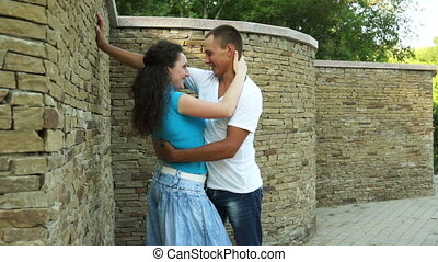Hugging couple in love - Couple in love outdoors
