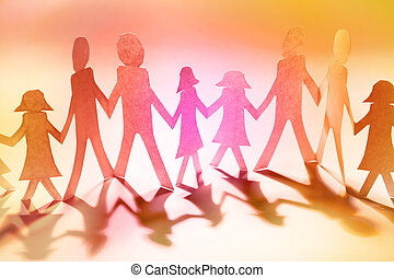 Paper dolls - Group of people holding hands