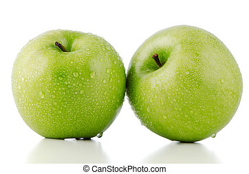 Two fresh green apples on white background.