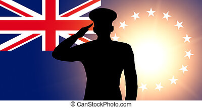 The Cook Islands flag and the silhouette of a soldier's...