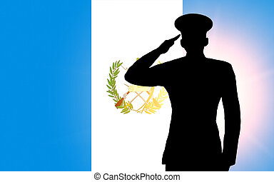 The Guatemala flag and the silhouette of a soldier's...