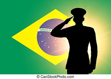 The Brazilian flag and the silhouette of a soldier's...