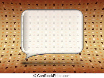 Vintage glass speech bubble with polka dot background