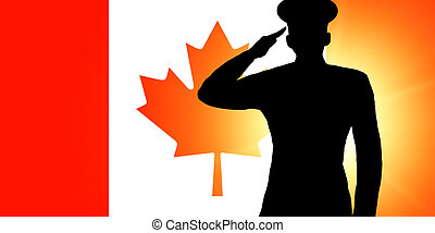 The Canadian flag and the silhouette of a soldier's military...