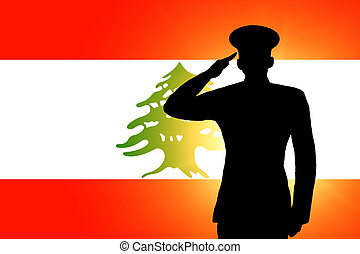 The Lebanese flag and the silhouette of a soldier's military...