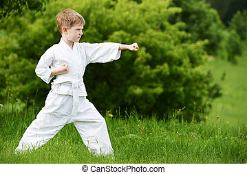 Little boy make karate exercises - One little boy in white...