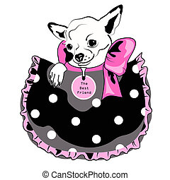 Dog in pocket, black, pink and white drawing.