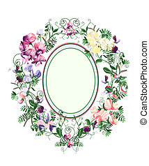 Sweet pea frame - Decorative floral frame from sweet pea...