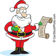Santa Claus - Cartoon illustration of Santa Claus checking...