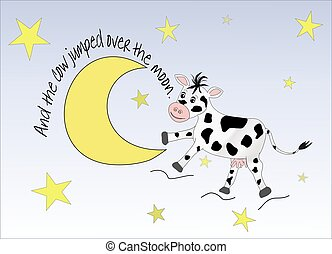 Cow Jumping Over The Moon - Illustration of the nursery...