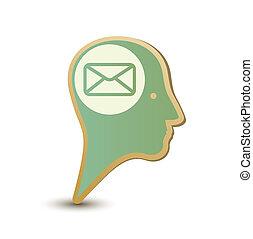 Mail man. Label sticker. Modern concept