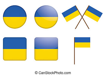 badges with flag of Ukraine - set of badges with flag of...