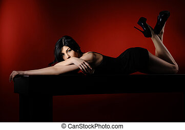 glamour, mulheres, longo, pretas, cabelo, excitado, penteado