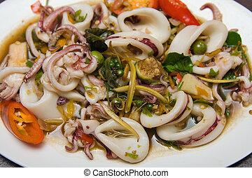 Asian spicy squid salad