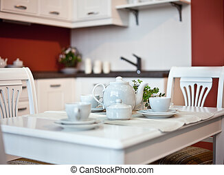 kitchen interior with dishes on table (beautiful Depth Of...