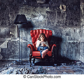 girl in grunge interior - little girl sitting in grunge...
