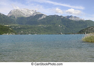 Annecy lake and mountains by quiet morning