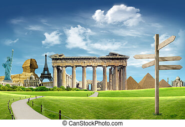 Tourism around the world: world landamrks with blue sky and...