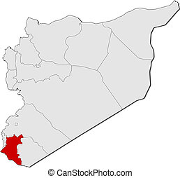 Map of Syria, Daraa highlighted - Political map of Syria...