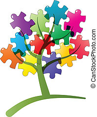 puzzle tree - illustration of tree with puzzle pieces