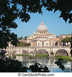Vatican , Rome - Italy - River Tiber, Ponte Sant Angelo and...