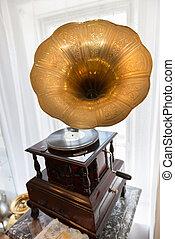 Gramophone in front of a window