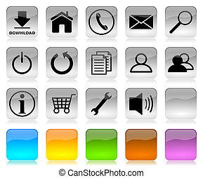 Black on white internet icons series - Black on white glossy...