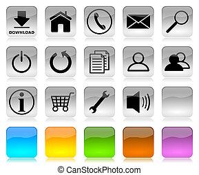Black on white internet icons series - Black on white glossy...