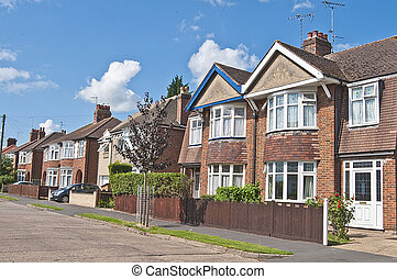 Row of houses detached and semi detached urban houses - Row...