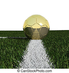 Golden soccer ball in the grass isolated on white background