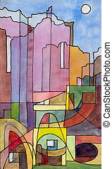 Capri - a semi-abstract watercolor and ink painting of...