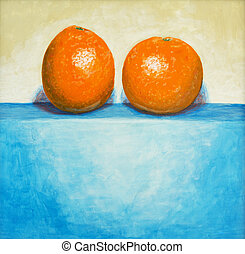 Two Oranges - a still life painting of two oranges